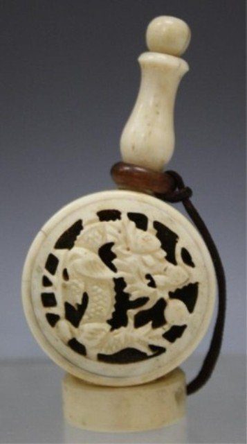 221: Chinese Carved Ivory Snuff Bottle w/ Dragon