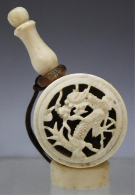 221: Chinese Carved Ivory Snuff Bottle w/ Dragon - 3