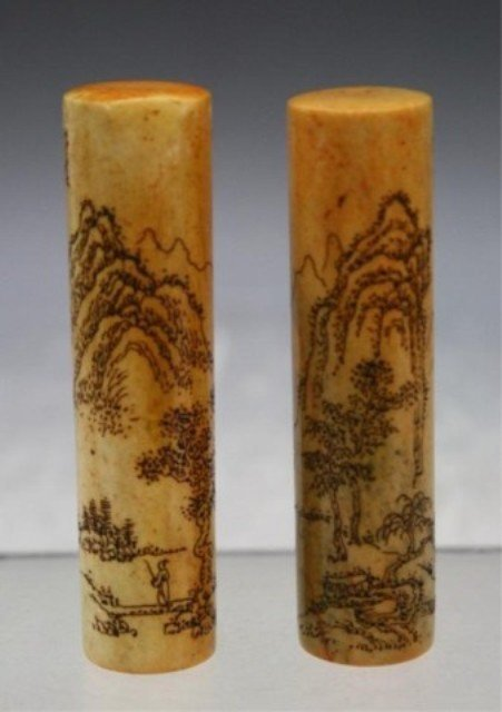296: Chinese Pair of Soapstone Seals