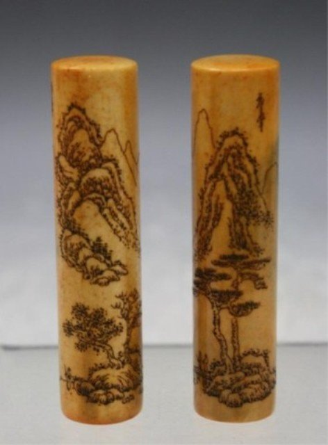 297: Chinese Pair of Soapstone Seals
