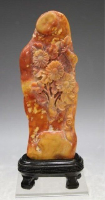 298: Chinese Soapstone Mountain Carving w/ Flowers
