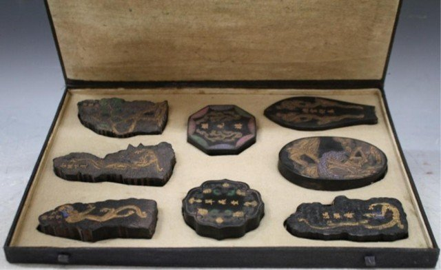 308: Chinese Set of 8 Black Ink Cakes with Case