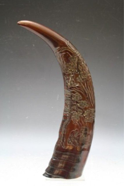 313: Large Chinese Carved Ox Horn