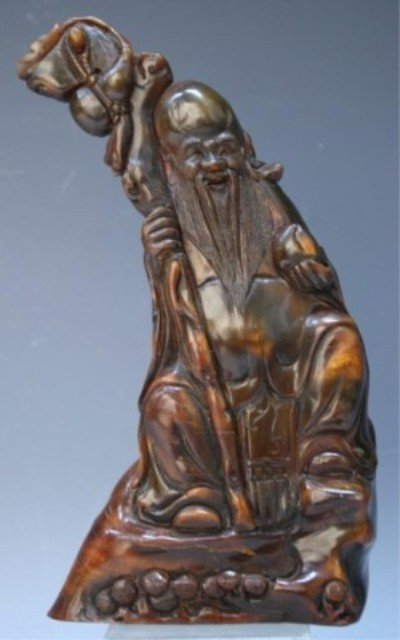 314: Chinese Carved Horn Seated Lohan
