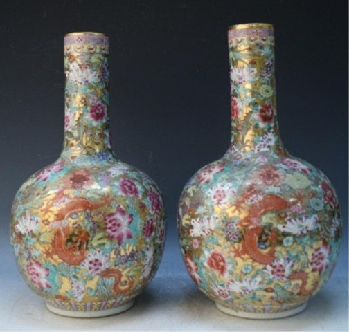 486: Chinese Pair of Famille Rose Floral Vases