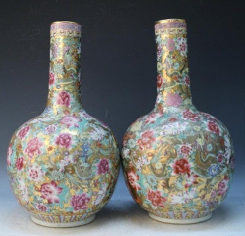 486: Chinese Pair of Famille Rose Floral Vases - 2