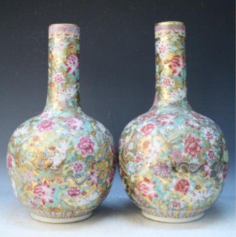 486: Chinese Pair of Famille Rose Floral Vases - 3