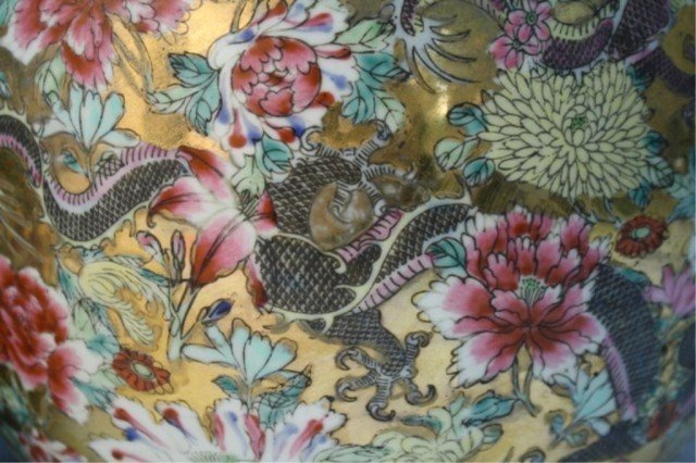 486: Chinese Pair of Famille Rose Floral Vases - 4