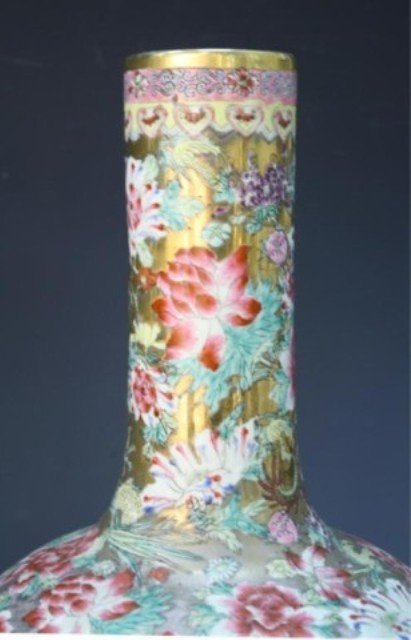 486: Chinese Pair of Famille Rose Floral Vases - 6