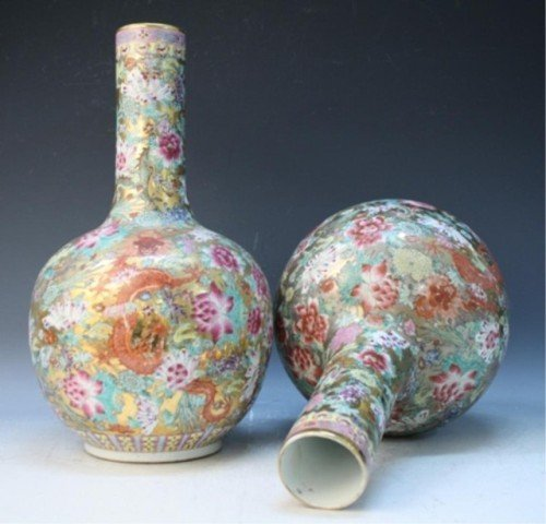 486: Chinese Pair of Famille Rose Floral Vases - 7