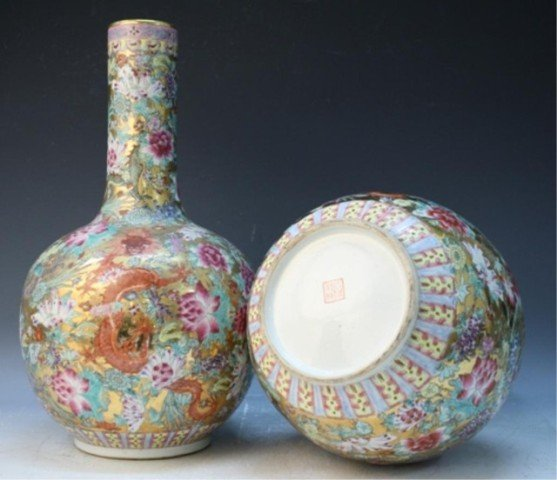 486: Chinese Pair of Famille Rose Floral Vases - 8