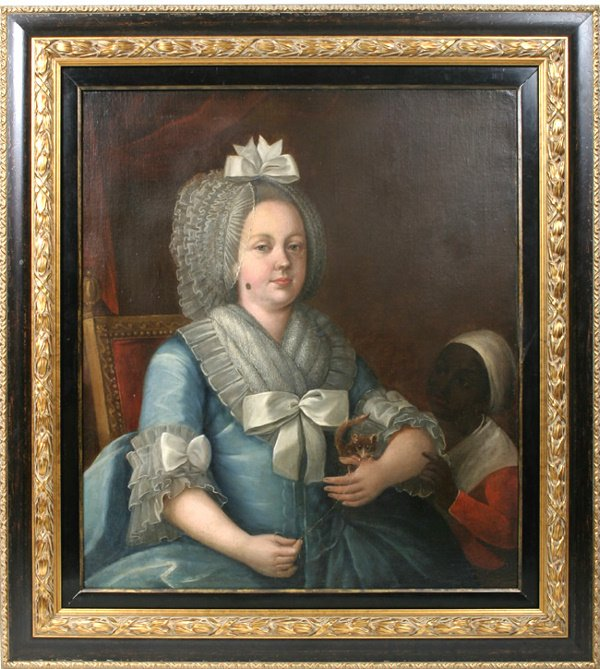 2: 18TH Century FRENCH PAINTING  LADY W/ LEMER