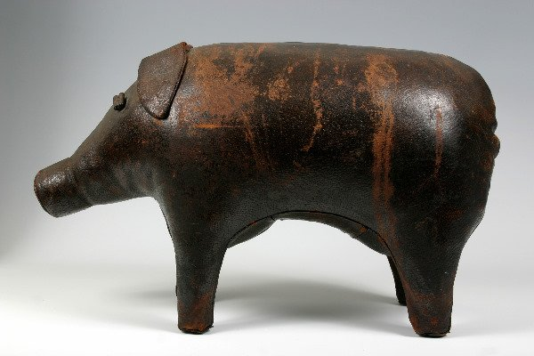 """6: CHARMING 19TH C. LEATHER PIG 24""""L"""