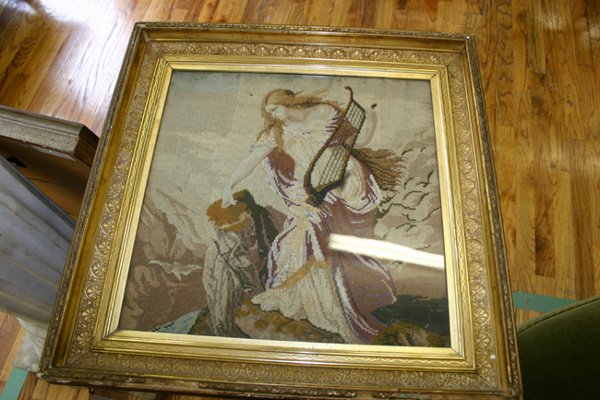 8: 18TH C. NEEDLEPOINT TAPESTRY WOMAN PLAYING HARP