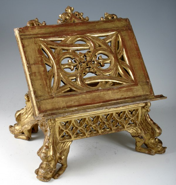 18: DICTIONARY STAND, GILT W/ GRIFFIN FEET