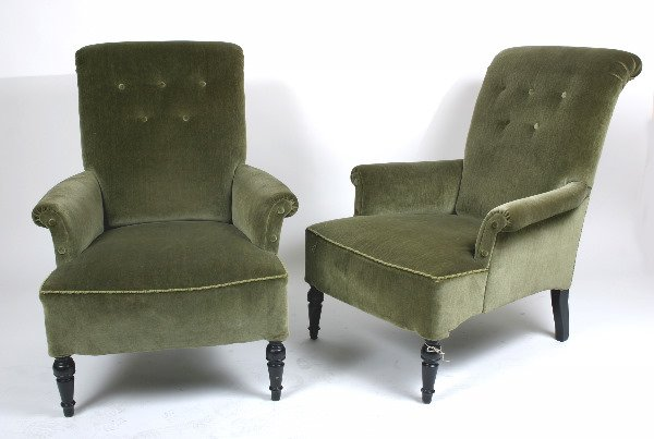 20: PR. GREEN UPHOLSTERED EARLY 20TH C. CHAIRS