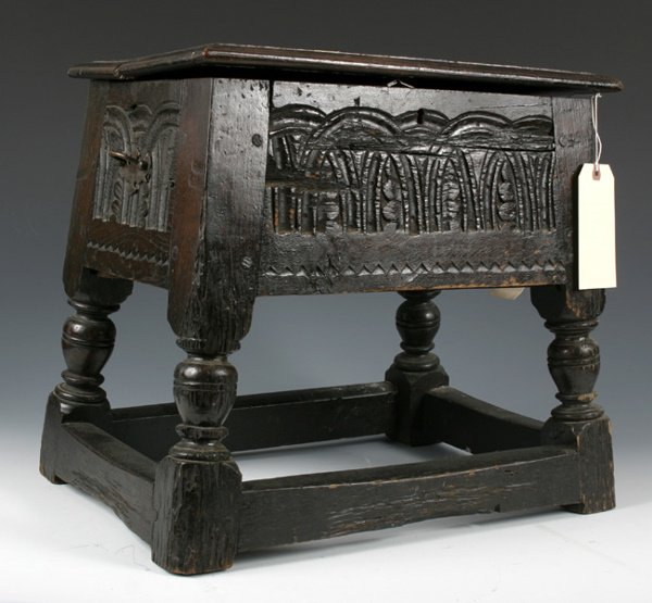47: CARVED JOINT STOOL HINGED TOP 17TH C.