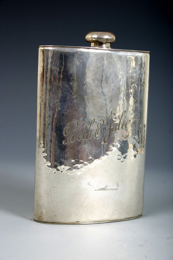 509: C. 1920 SILVER CARTIER FLASK