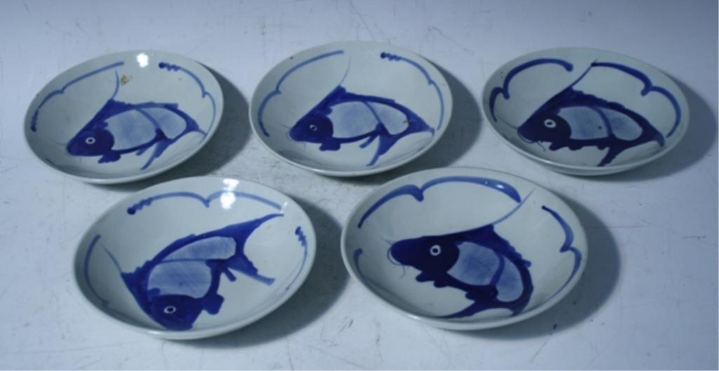 9: Set of 5 Chinese Blue & White Fish Plates
