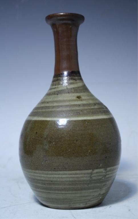 13: Japanese Karatsu Brown Red & White Pottery Vase 19C