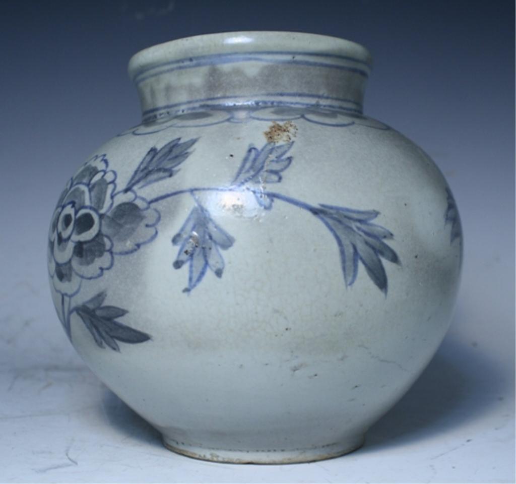 16: Korean Blue & White Porcelain Floral Jar - 2