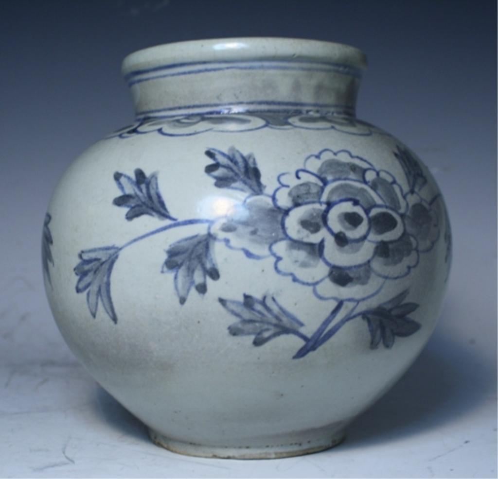 16: Korean Blue & White Porcelain Floral Jar - 3
