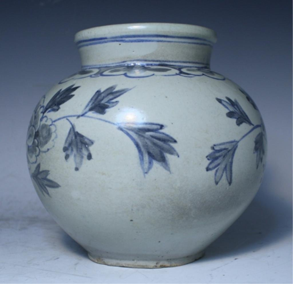 16: Korean Blue & White Porcelain Floral Jar - 4