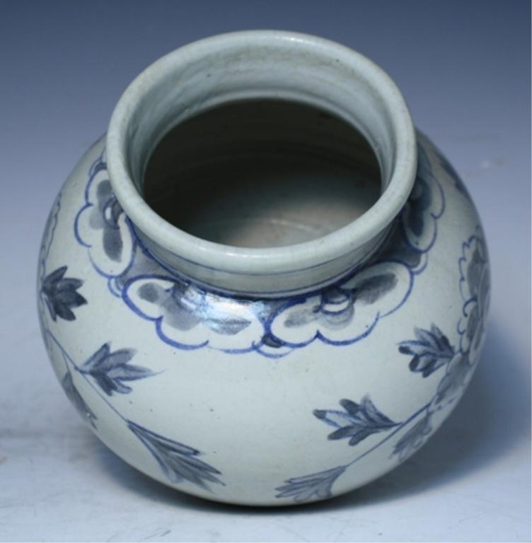 16: Korean Blue & White Porcelain Floral Jar - 5