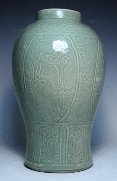 75: Chinese Celadon Floral Jar