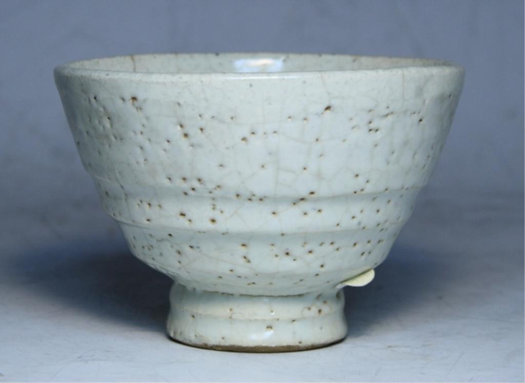90: White Glazed Ceramic Tea Bowl 19th C