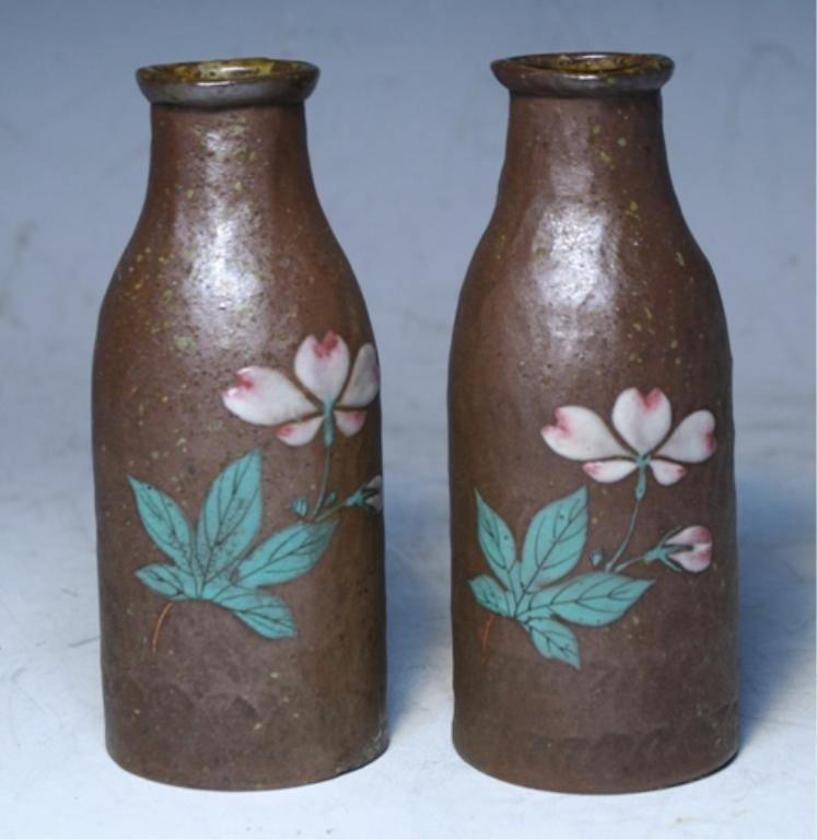 96: Japanese Pair Of Banko Bottles 19th Century