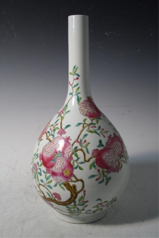 197: Chinese Famille Rose Vase w/ Pomegranates