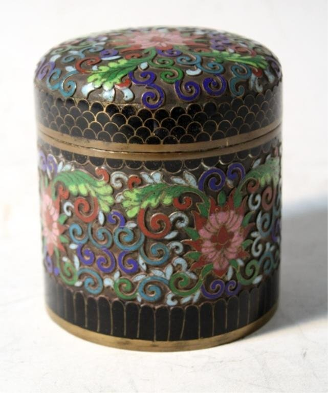 203: Chinese Cloisonne Tea Caddy
