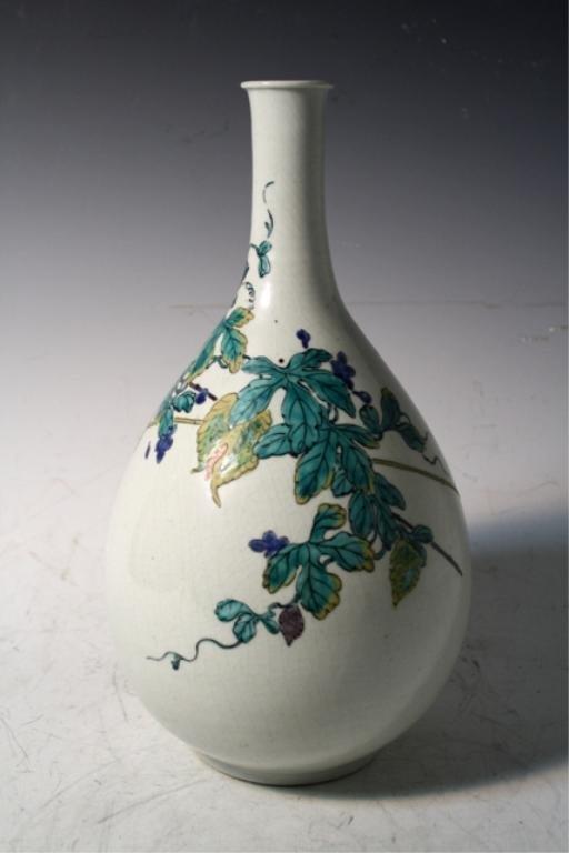 214: Chinese Kutani Pear-Shaped Vase 19th Century