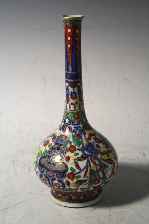 215: Asian Imari Porcelain Bottle Vase