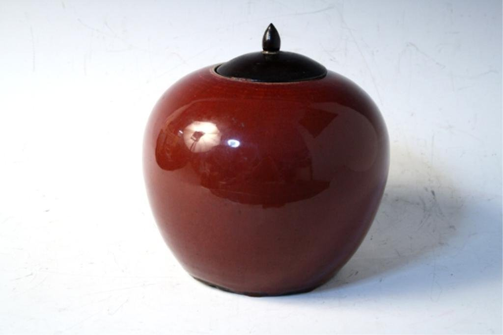 434: Chinese Ox Blood Ginger Jar Late 19th Century