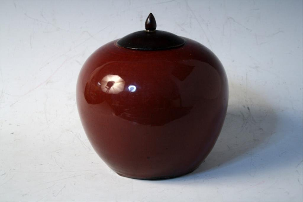 434: Chinese Ox Blood Ginger Jar Late 19th Century - 2