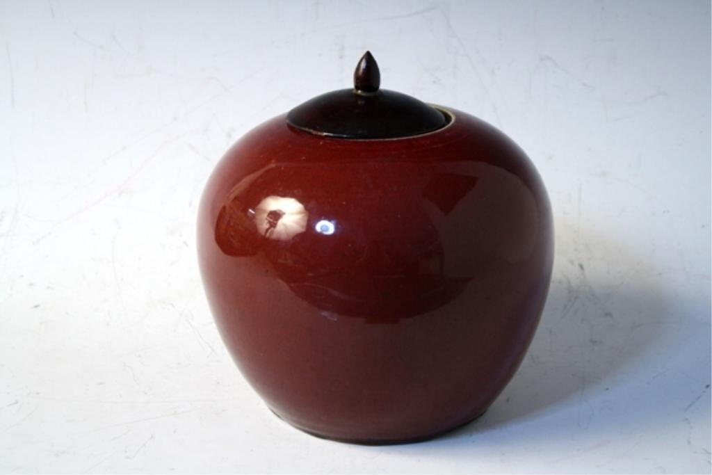 434: Chinese Ox Blood Ginger Jar Late 19th Century - 3