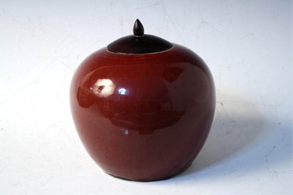 434: Chinese Ox Blood Ginger Jar Late 19th Century - 4