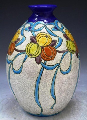 10: Belgian Boch Freres Keramis Pottery Vase