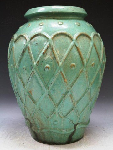 12: Galloway Large Ceramic Turquoise Vase 1937