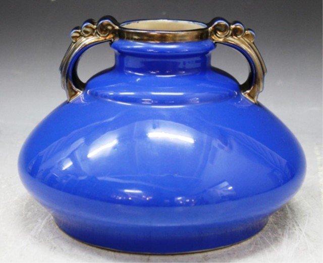 14: French Art Deco Blue & Silver Porcelain Vase
