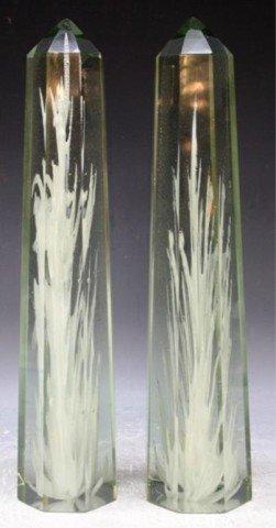 "27: Venini ""Flame"" Glass Obelisk Pair by F. Bianconi"
