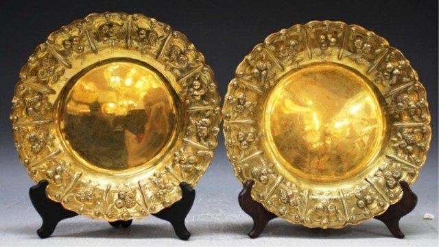 34: Pair of English Gilded Silver Plates