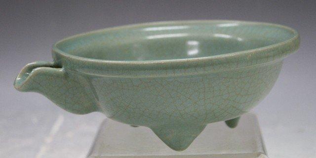 132: Chinese Guan Ware Tripod Bowl w/ Spout