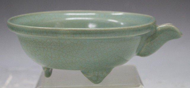 132: Chinese Guan Ware Tripod Bowl w/ Spout - 3