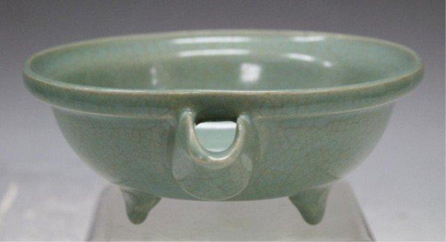 132: Chinese Guan Ware Tripod Bowl w/ Spout - 4