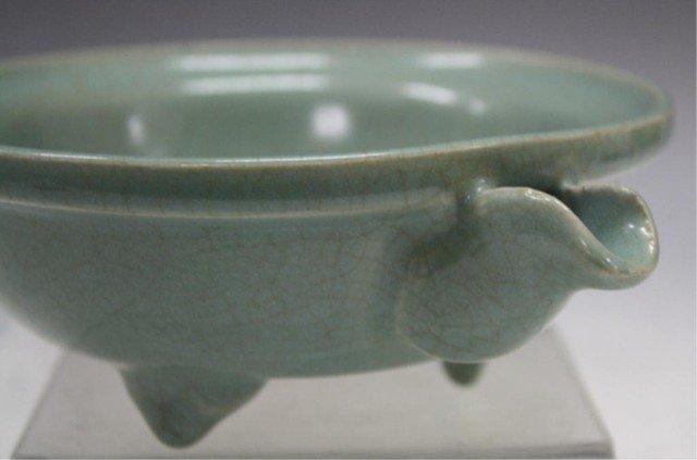 132: Chinese Guan Ware Tripod Bowl w/ Spout - 7