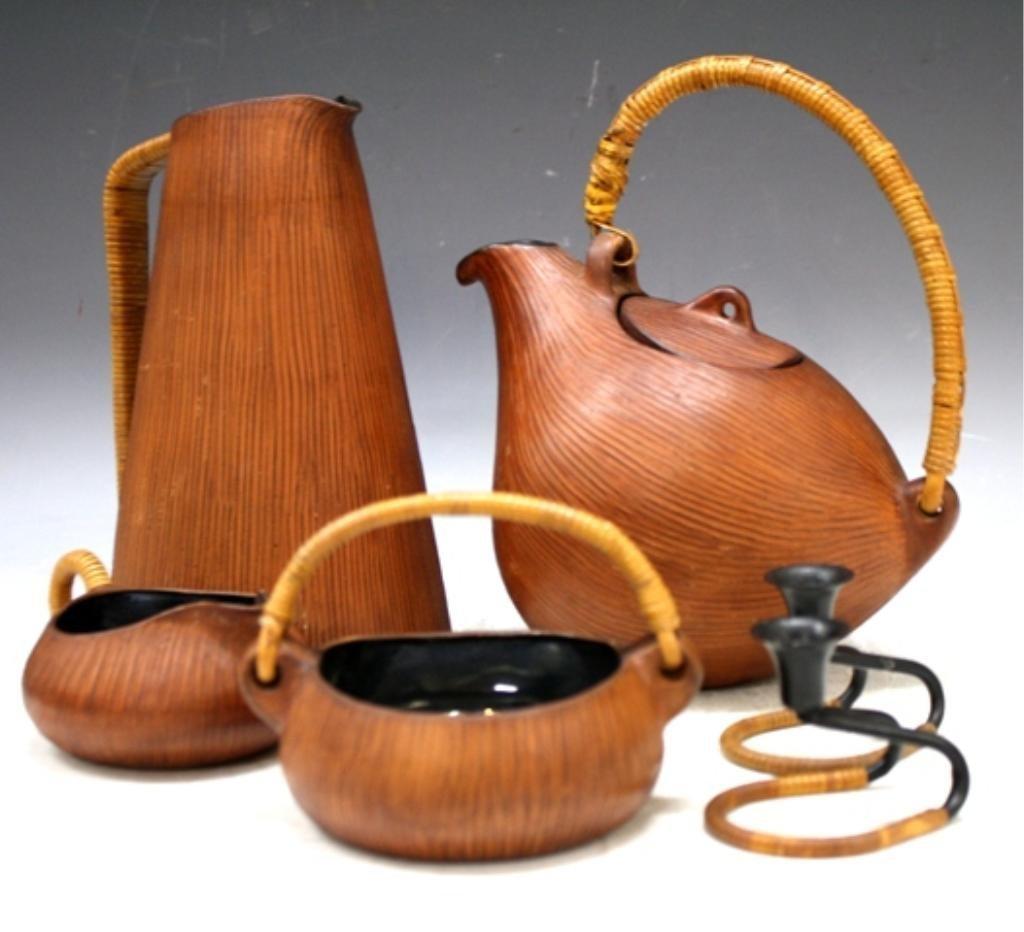 4: 6 pc. Wicker and Ceramic Coffee Set Danish