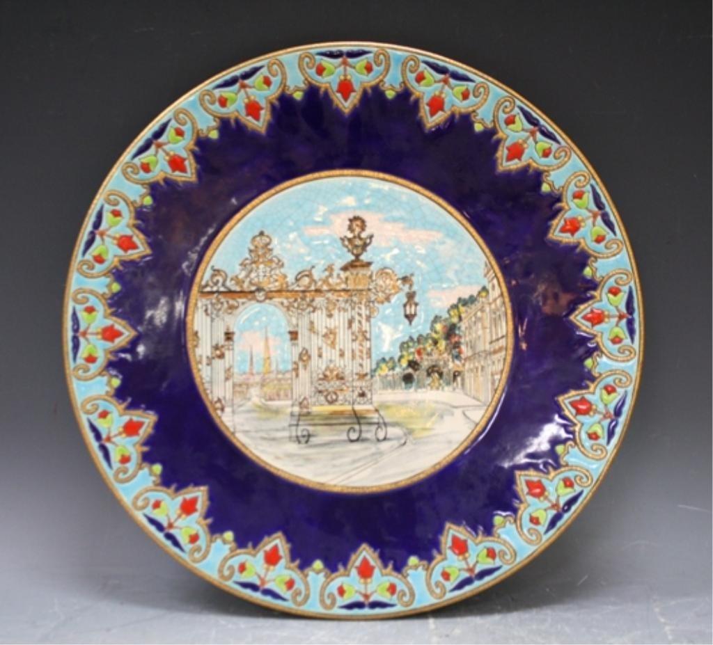 8: Longwy Porcelain Charger w/ Street Scene French